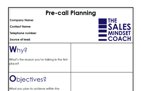 Pre-call planning template